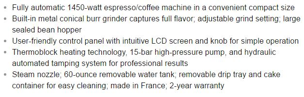krups espresso machine features