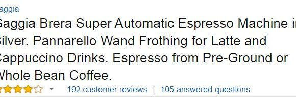 Gaggia Brera Superautomatic Espresso Machine Customer Ratings