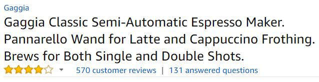 gaggia classic best espresso machine customer ratings