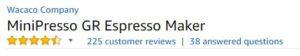 MiniPresso GR Espresso Maker customer ratings