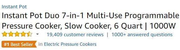 instant pot customer ratings