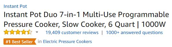 instant pot customer ratings