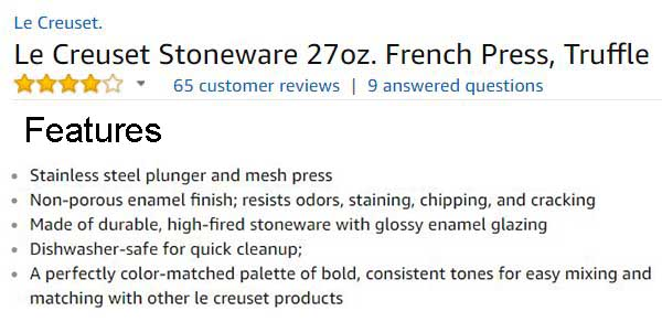 Le Creuset Stoneware French Press Customer Ratings