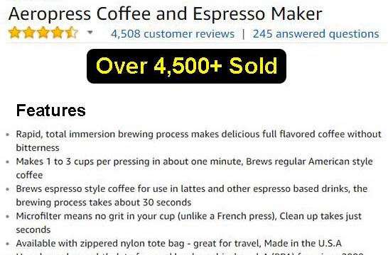 Aeropress Coffee and Espresso Maker For Sale