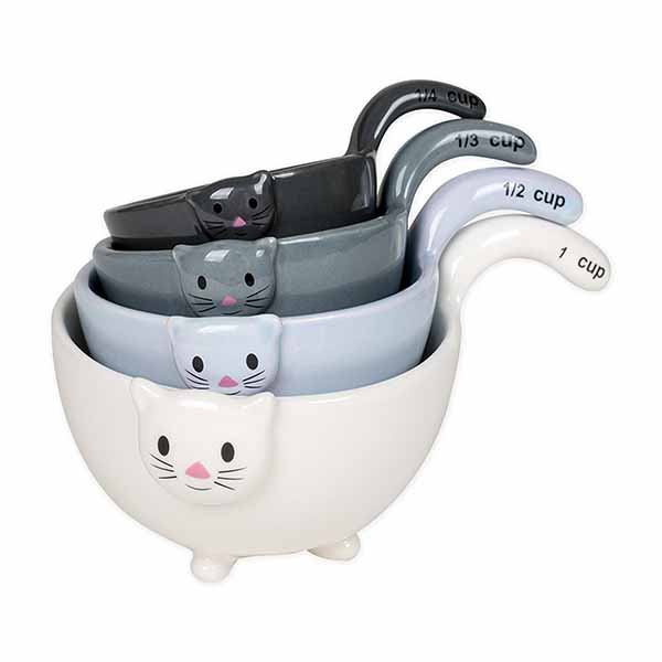 Ceramic Cat Measuring Cups & Baking Bowls