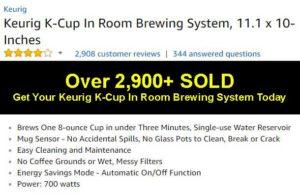Keurig K-Cup In Room Brewing System Ratings & Reviews