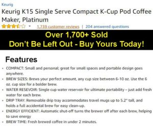 Keurig K15 Customer Ratings & Details