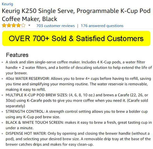 Keurig K250 Ratings & Features