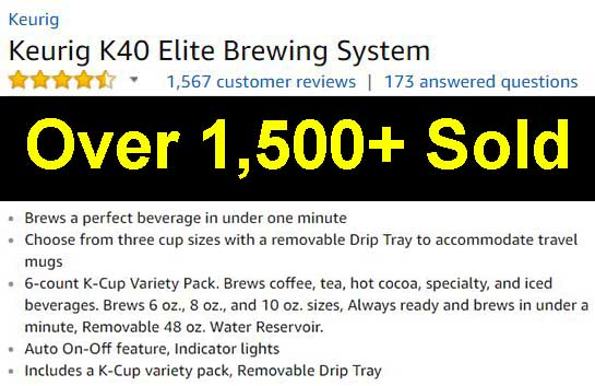 Keurig K40 Elite brewing system customer rankings and reviews