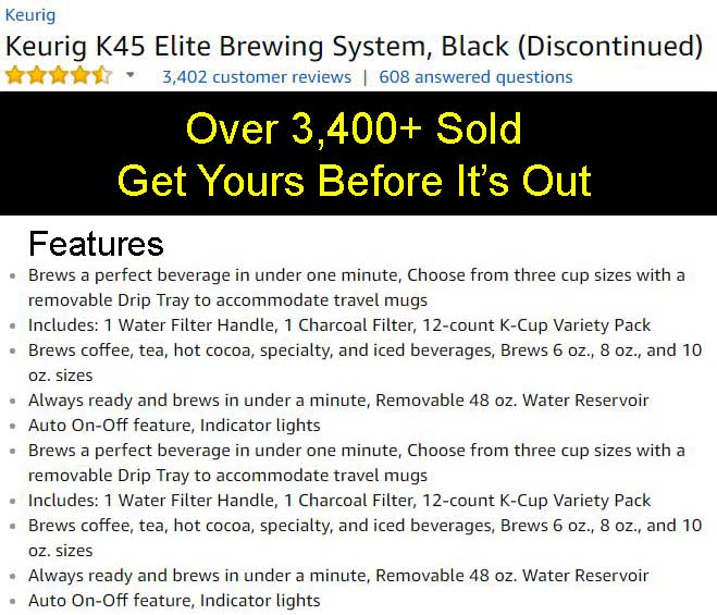 keurig k45 elite brewing system - Keurig Elite K45