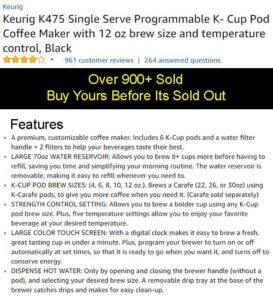 Keurig K475 Coffee Maker Price