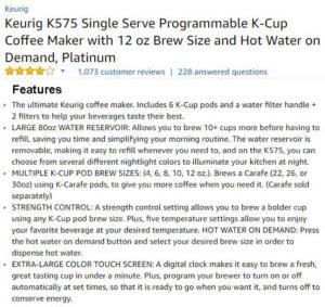 Keurig K575 Customer Ratings & Reviews