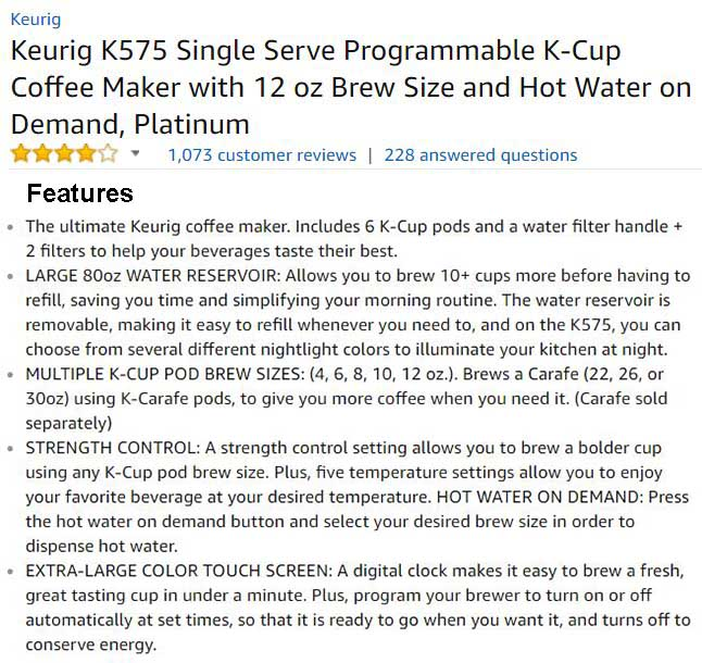 Keurig K575 Customer Ratings & Reviews