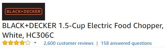 black and decker electric chopper customer ratings