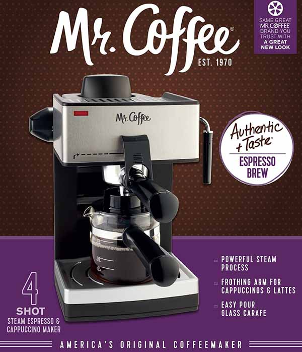 mr coffee 4 cup steam espresso machine system
