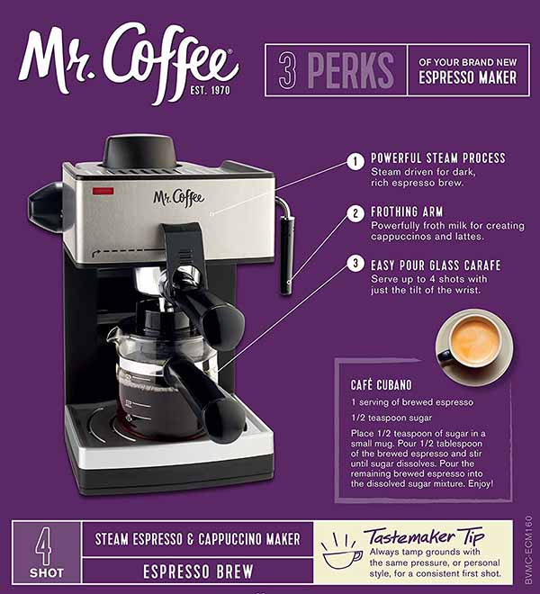 mr coffee steam espresso machine price