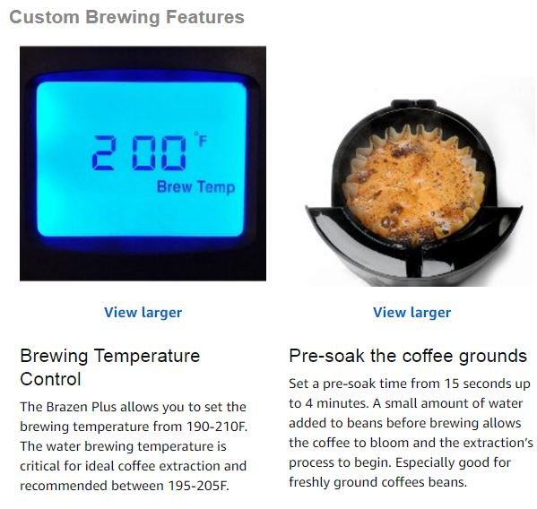 Behmor coffee maker features