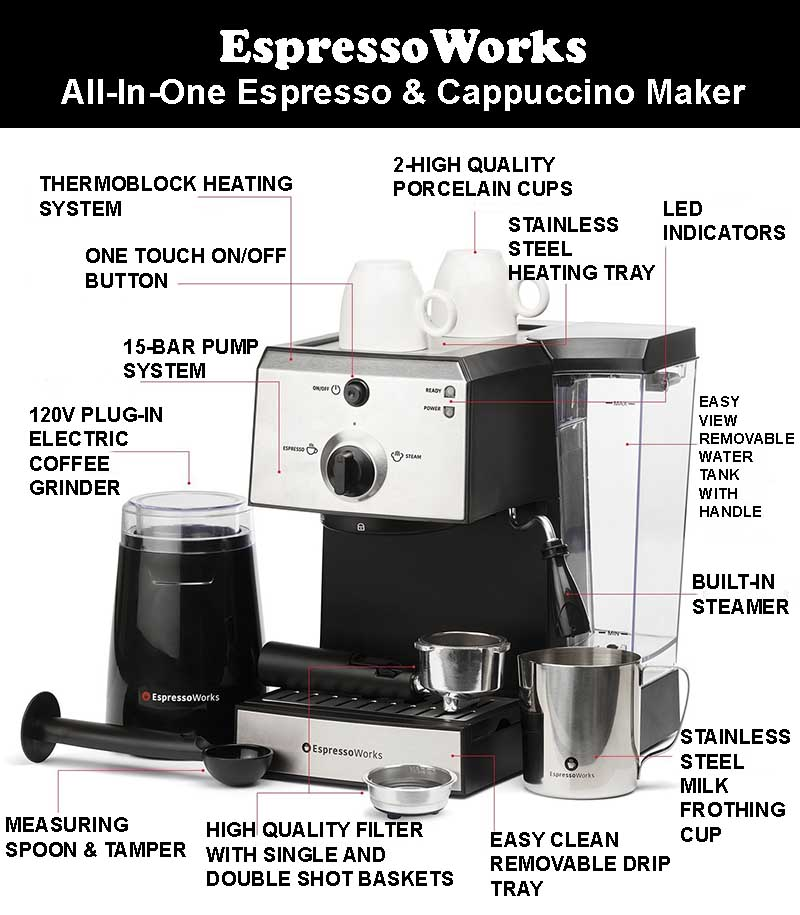 EspressoWorks All In One Espresso And Cappuccino Maker Bundle Set - Specs & Features