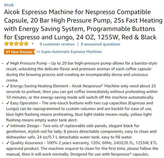Aicok Espresso Machine Customer Ratings