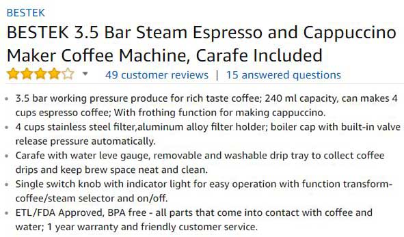 Bestek steam espresso and cappuccino maker customer ratings and reviews