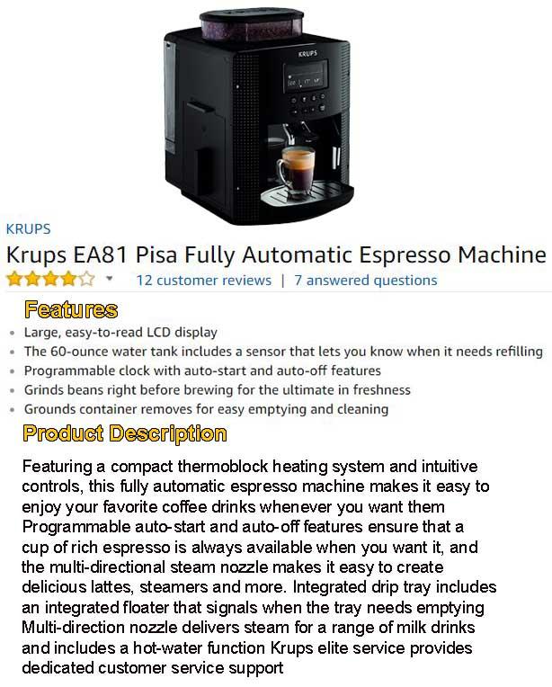 KRUPS EA81 Pisa Espresso Machine Review