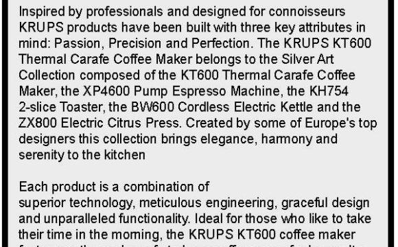 Krups KT600 Silver Art Collection Product Description