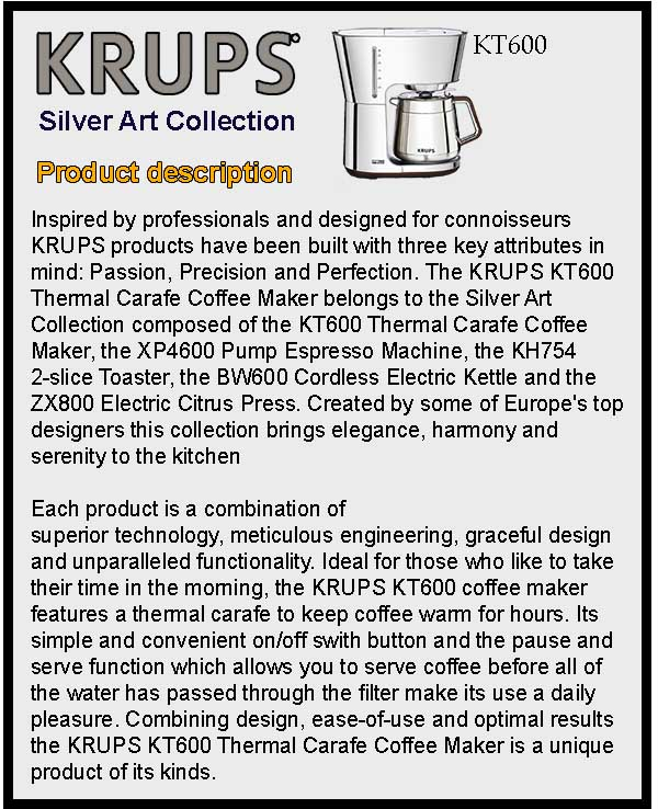Krups KT600 Silver Art Collection Product Description
