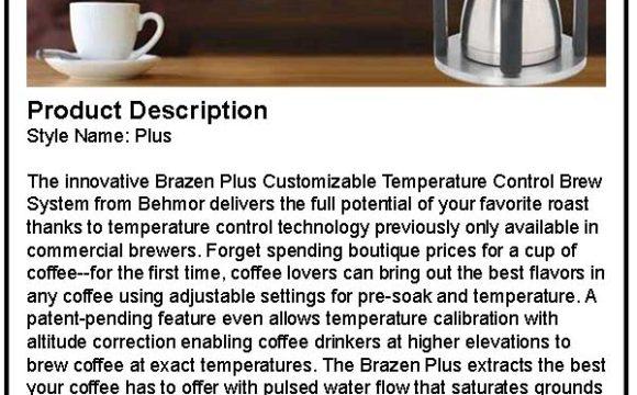 Behmor Brazen Plus Coffee Maker Product Description