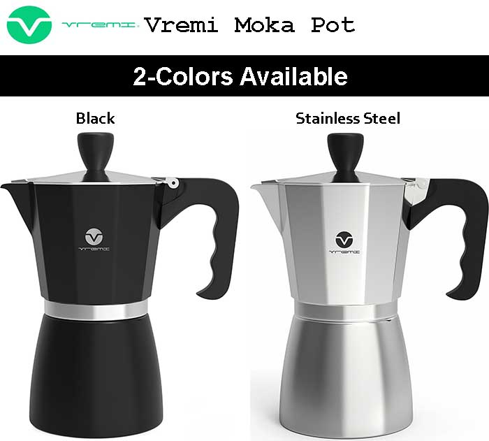 Vremi Stovetop Espresso Maker Moka Pot For Sale - Colors Available