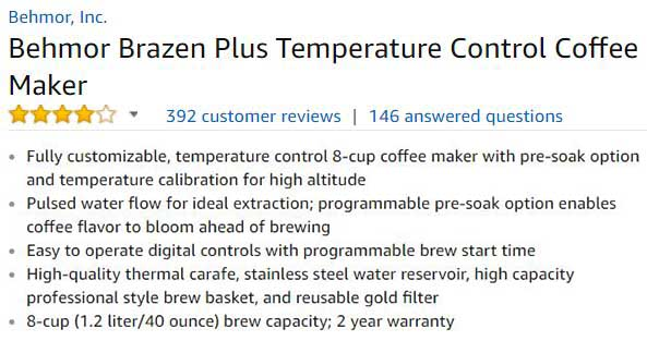 Behmor Brazen Plus Coffee Maker Customer Ratings & Reviews