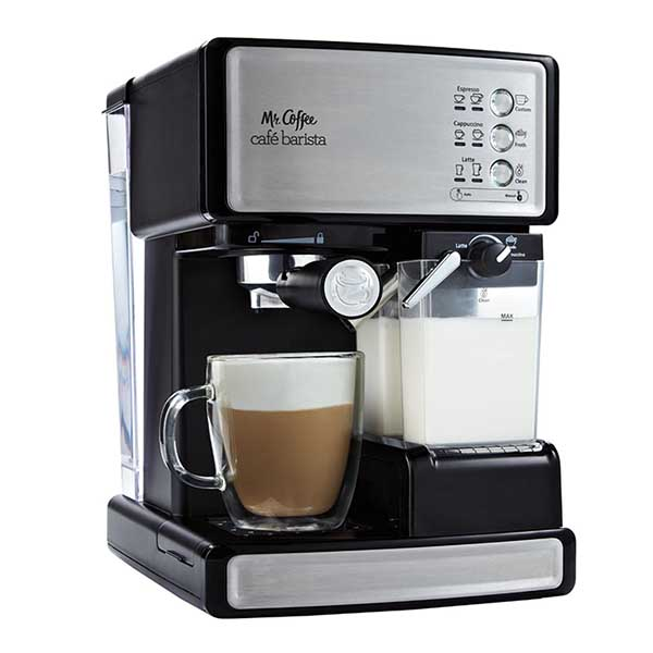 making cappuccino with an espresso machine