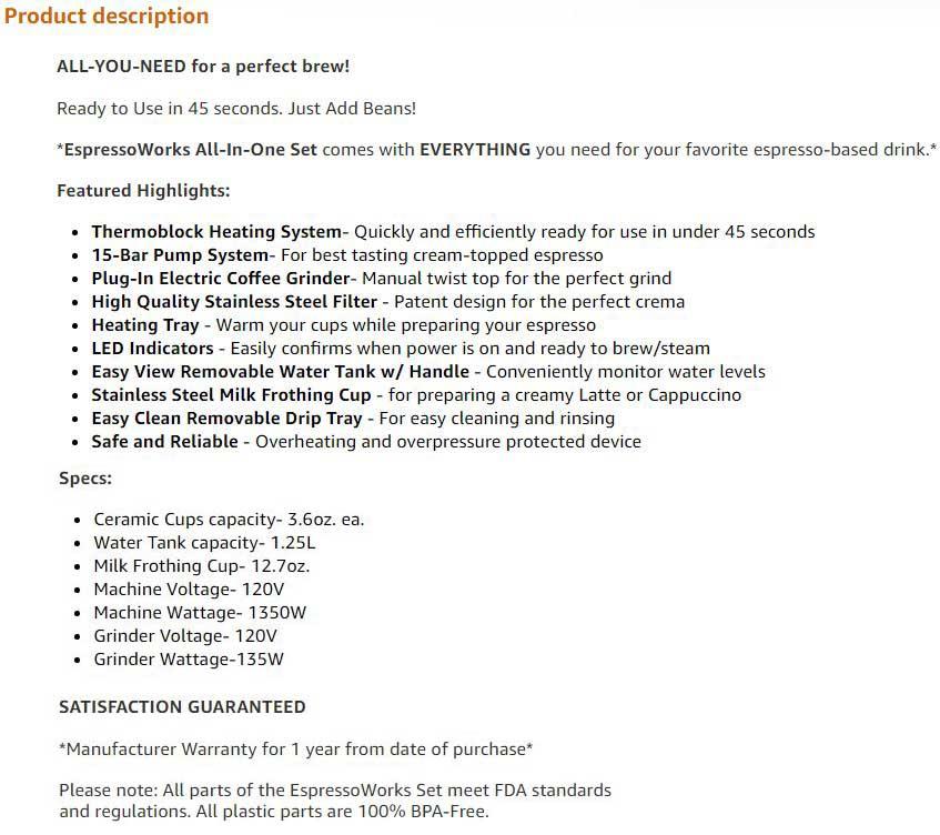 EspressoWorks All In One Espresso and Cappuccino Maker System - Product Description