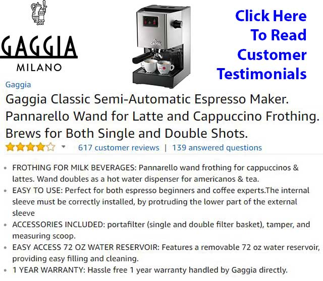 Gaggia Classic Review - Customer Testimonials - Customer Ratings - Expert In Depth Review
