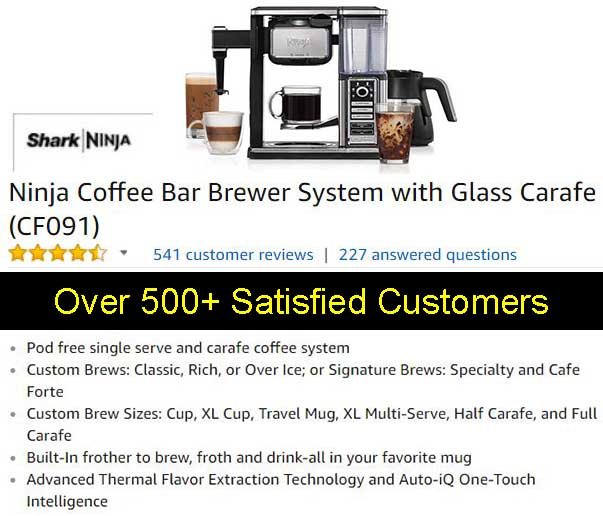 Ninja Coffee Bar Brewer System With Glass Carafe (CF091) Customer Ratings and Reviews