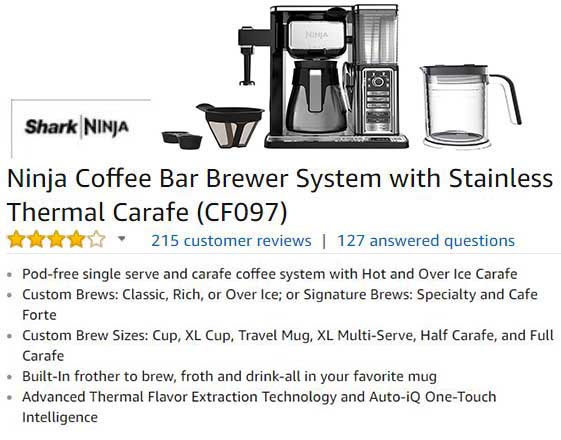 Ninja Coffee Bar Brewer System with Stainless Thermal Carafe CF097 - Customer ratings and reviews