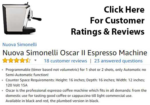Nuova Simonelli Oscar ii Espresso Machine Review - Customer Ratings & Reviews