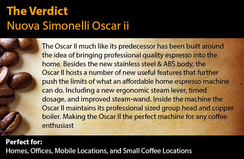 Nuova Simonelli Oscar ii Espresso Machine Review - The Verdict - Absolute Winner - Must Buy - Read the full review