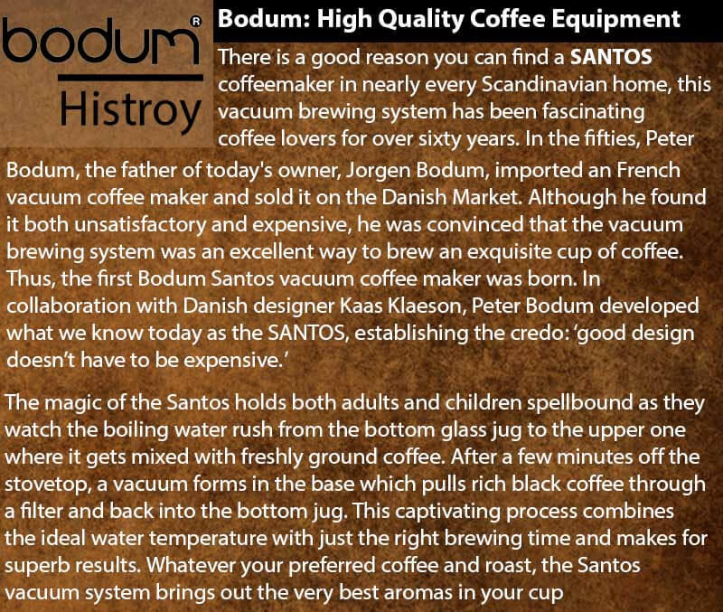 Bodum PEBO Vacuum Coffee Maker - Bodum Santos History - Jorgen Bodum - Kaas Klaeson - Peter Bodum - History Of Bodum Coffee Products and Review of Bodum PEBO
