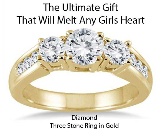 Diamond three stone ring - Unique Holiday Gift Ideas For women - This the ultimate gift for any lover