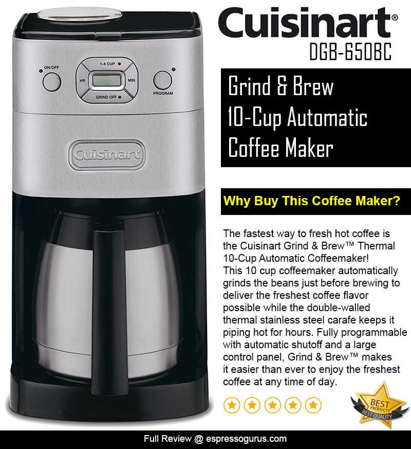 Reviews Of Grind And Brew Coffee Maker : Cuisinart Grind & Brew Coffee Maker Review Espresso Guru